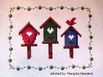 cross stitch pattern 3 Birdhouses