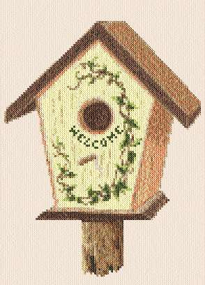 cross stitch pattern Birdhouse