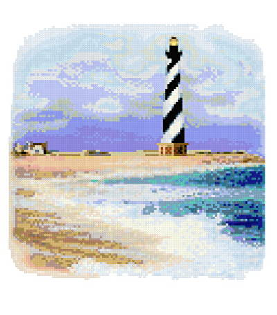 cross stitch pattern Cape Hateras Lighthouse