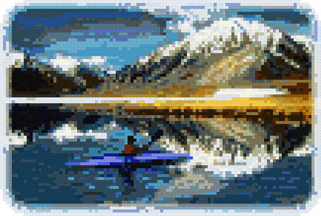cross stitch pattern Arctic Kayaker