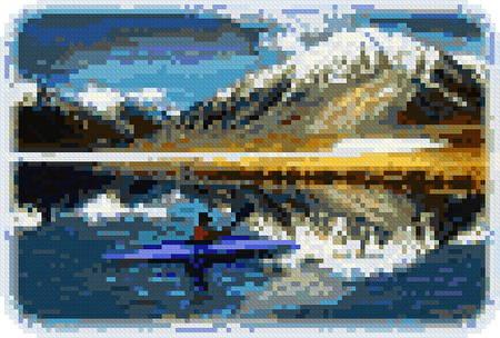 cross stitch pattern Arctic Kayaker