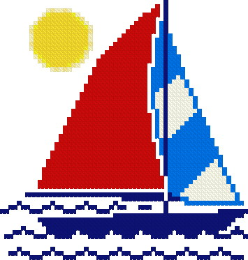cross stitch pattern Sailboat - free pattern