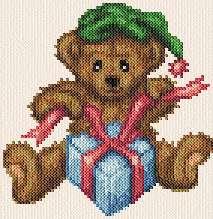 cross stitch pattern Christmas Teddy