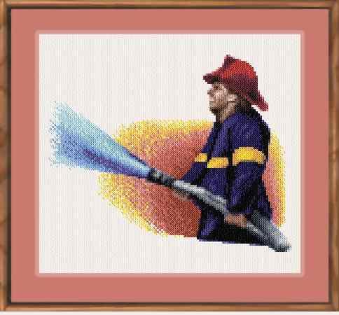 cross stitch pattern Fire Fighter