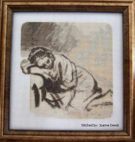 cross stitch pattern Sleeping Girl - Rembrandt
