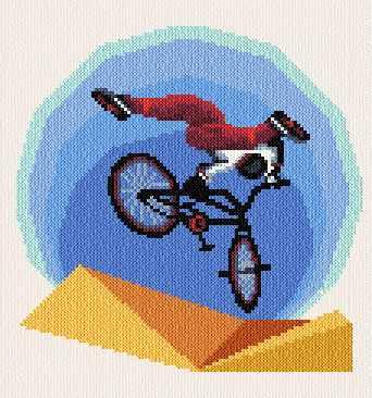 cross stitch pattern BMX Rider
