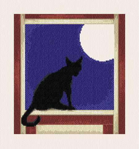cross stitch pattern Cat in the Window