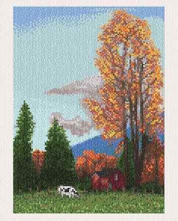 cross stitch pattern Autumn Farm
