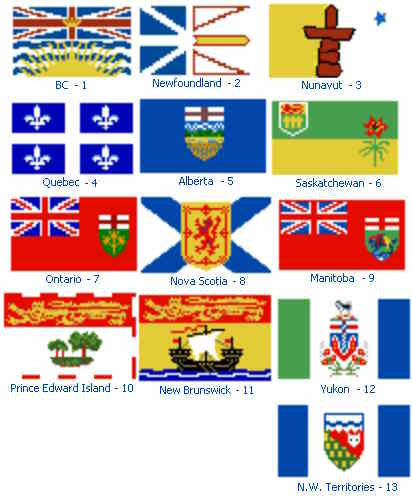 cross stitch pattern Flags of Canada
