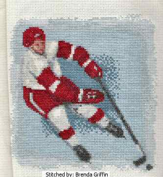 cross stitch pattern Hockey Player
