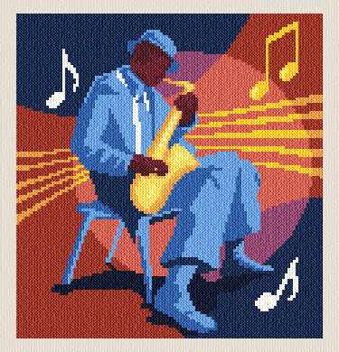 cross stitch pattern Jazz Man