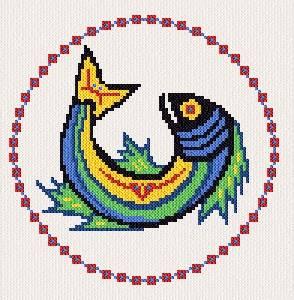 cross stitch pattern Native Fish