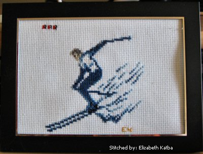 cross stitch pattern skiier