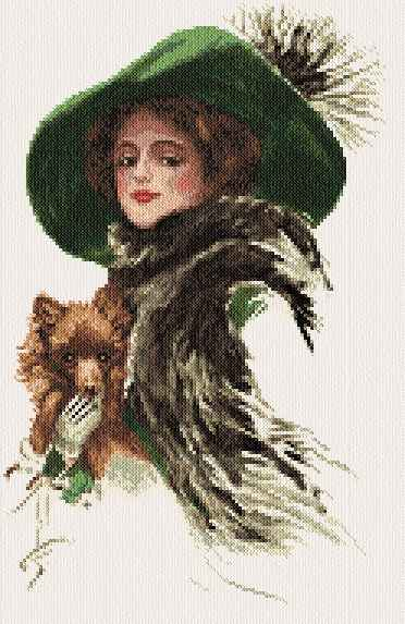 cross stitch pattern Woman with dog