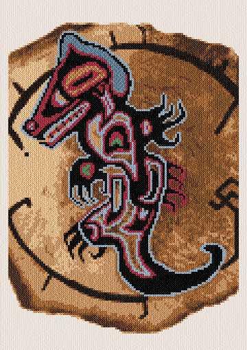 cross stitch pattern Native N. American Wolf