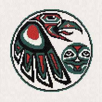 cross stitch pattern Raven and Moon