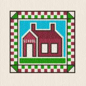 cross stitch pattern School House Quilt