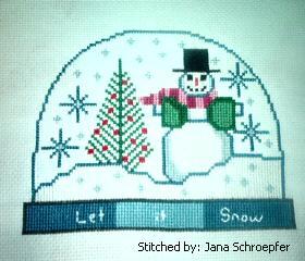cross stitch pattern Snowman Snow Globe