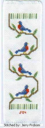 cross stitch pattern Birds Bookmark