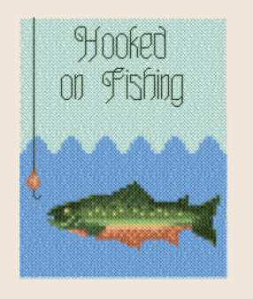 cross stitch pattern Hooked on Fishing