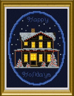 cross stitch pattern Happy Holidays House