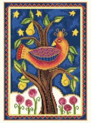 cross stitch pattern Partridge in a Pear Tree