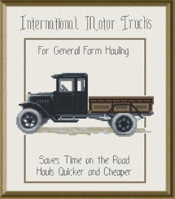 cross stitch pattern Antique Truck Poster