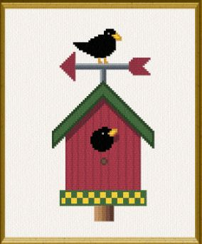 cross stitch pattern Country Birdhouse