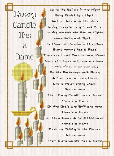 cross stitch pattern Every Candle has a Name
