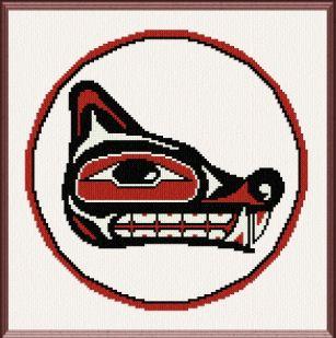 cross stitch pattern Native Wolf