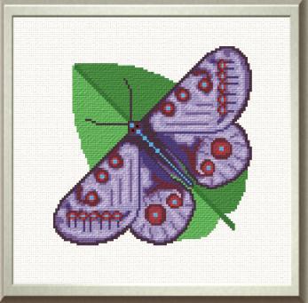 cross stitch pattern Purple Butterfly