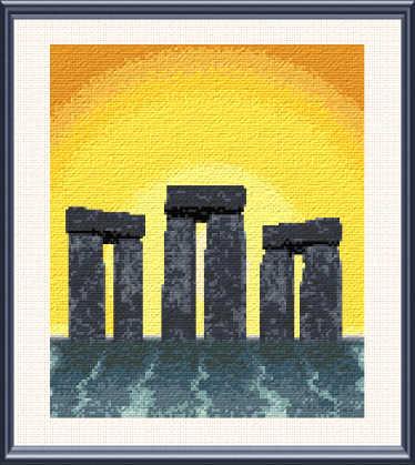 cross stitch pattern Fantasy Stonehenge