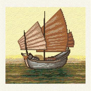 cross stitch pattern Chinese Junk Sailboat
