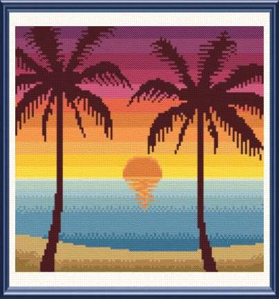 cross stitch pattern Tropical Sunset