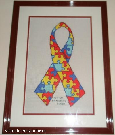 cross stitch pattern Autism Awareness Ribbon