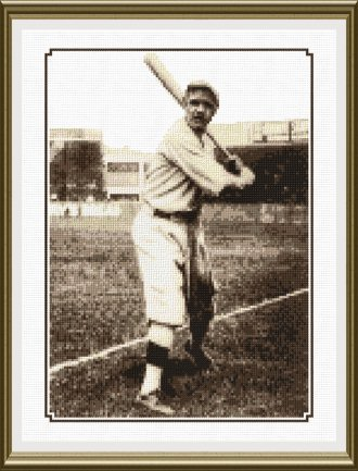 cross stitch pattern Babe Ruth