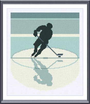 cross stitch pattern Hockey silhouette