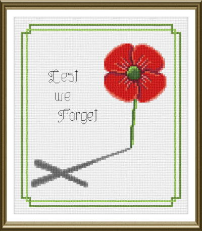cross stitch pattern Lest we Forget