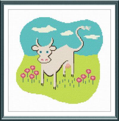 cross stitch pattern White Cow