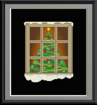 cross stitch pattern Christmas Window