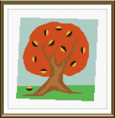 cross stitch pattern Fall Tree