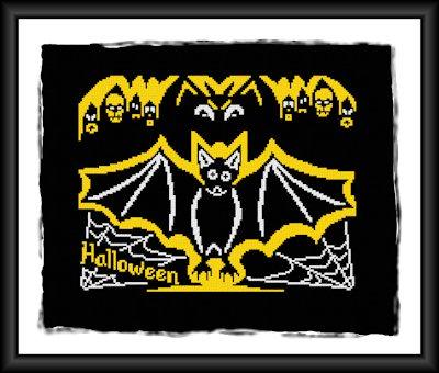 cross stitch pattern Halloween bat