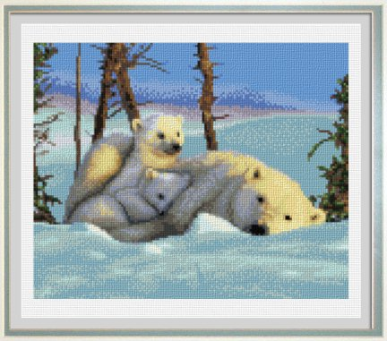 cross stitch pattern Polar Bear and Cubs