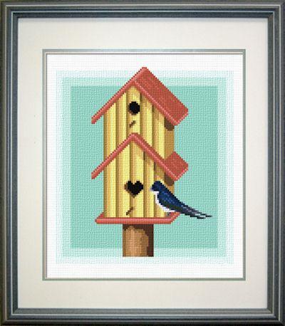 cross stitch pattern Swallow bird house