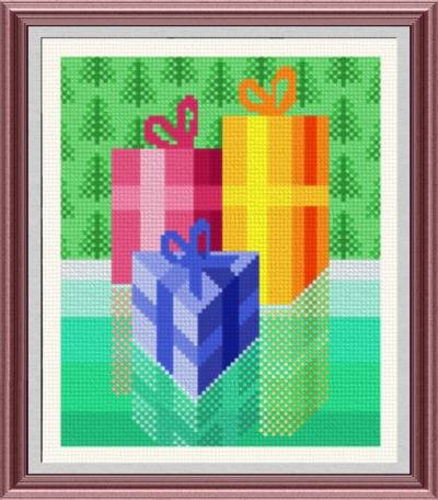 cross stitch pattern Christmas Presents