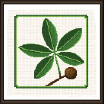 cross stitch pattern Hickory leaf