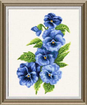cross stitch pattern Pansies 2 - blue