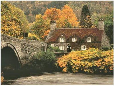 cross stitch pattern Autumn Cottage