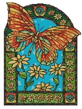 cross stitch pattern Butterfly Window