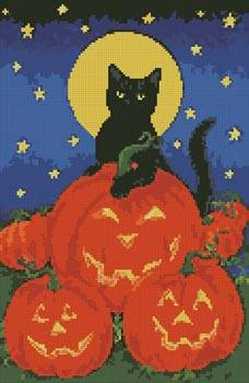 cross stitch pattern Black Cat and Pumpkins